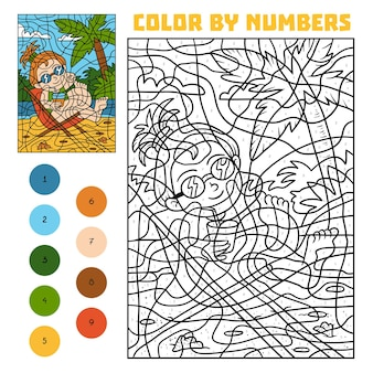 Colore per numero, gioco educativo per bambini, ragazza sulla sedia a sdraio
