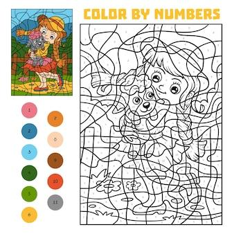 Colore per numero, gioco educativo per bambini, ragazza e pecora