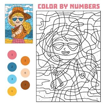 Colore per numero, gioco educativo per bambini, ragazza con occhiali da sole