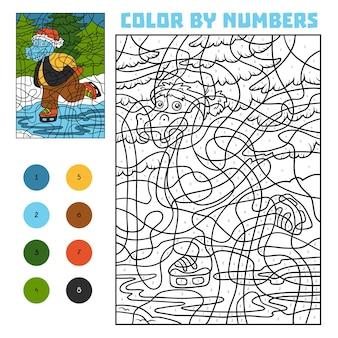 Colore per numero, gioco educativo per bambini, ippopotamo sui pattini