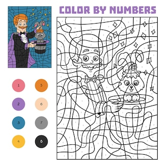 Colore per numero, gioco educativo per bambini, illusionista