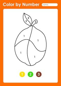 Foglio di lavoro colora per numero per i bambini che imparano i numeri colorando frutta e verdura al limone