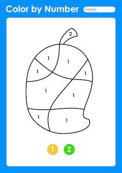 Foglio di lavoro colora per numero per i bambini che imparano i numeri colorando frutta e verdura mango