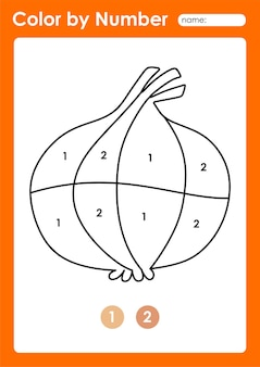 Foglio di lavoro colora per numero per i bambini che imparano i numeri colorando frutta e verdura cipolla