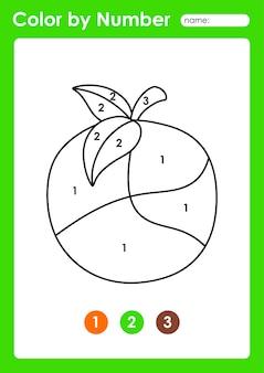 Foglio di lavoro colora per numero per i bambini che imparano i numeri colorando frutta e verdura arancione