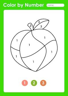 Foglio di lavoro colora per numero per i bambini che imparano i numeri colorando frutta e verdura pesca