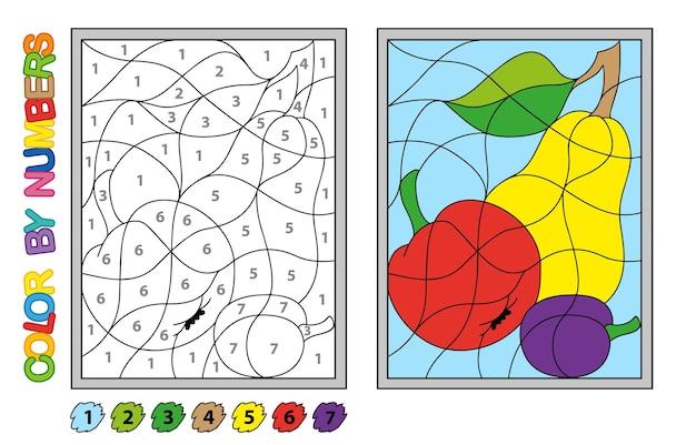 Colore per numeri. gioco di puzzle per l'educazione dei bambini. numeri e colori per disegnare e imparare la matematica. frutti vettoriali