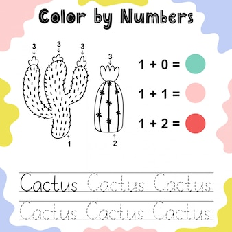 Colora i cactus con i numeri. pagina da colorare per bambini. impara a contare il foglio di lavoro per i bambini. illustrazione