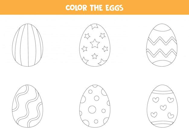 Cartone animato a colori uova di pasqua. pagina da colorare per bambini.