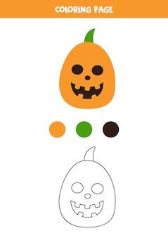Zucca di halloween del fumetto di colore. foglio di lavoro per bambini.