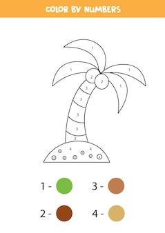 Colora la palma dei cartoni animati con i numeri foglio di lavoro per bambini