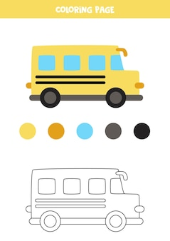Scuolabus del fumetto di colore. foglio di lavoro per bambini.