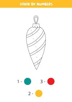 Colora la palla di natale con i numeri. pagina da colorare educativa per bambini.