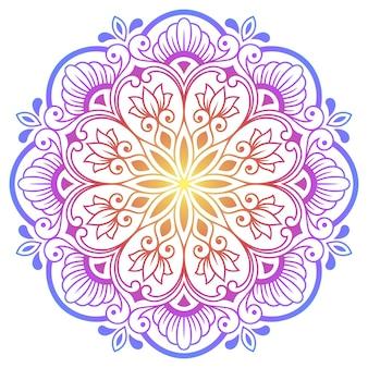 Mandala circolare di colore con fiore in stile etnico orientale. Vettore Premium