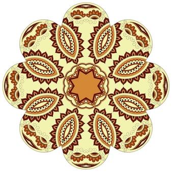 Modello circolare di colore a forma di mandala con fiore. ornamento decorativo in stile etnico orientale. disegno giallo.