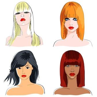 Schizzo del primo piano a colori di belle ragazze di diverse nazionalità, capelli con frangia, sguardo serio