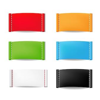 Set di etichette di abbigliamento di colore isolato su sfondo bianco con maglia di gradiente