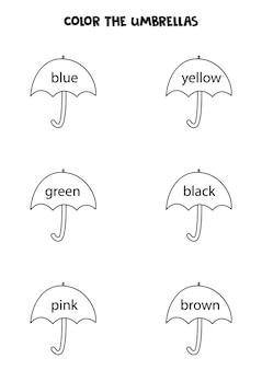 Ombrelli in bianco e nero carini a colori. pagina da colorare per bambini.