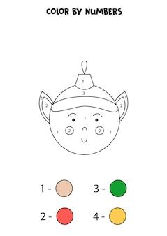 Colore simpatico cartone animato palla di natale dai numeri. foglio di lavoro per bambini.