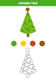 Colore simpatico cartone animato albero di natale. foglio di lavoro per bambini.
