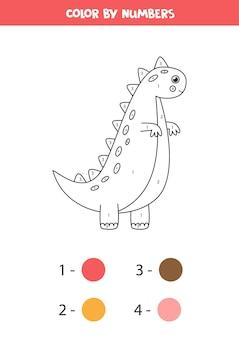 Colore dinosauro simpatico cartone animato dai numeri. pagina da colorare per bambini.