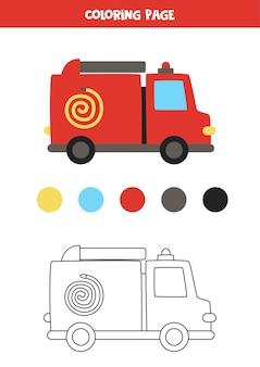 Colore camion dei pompieri simpatico cartone animato. foglio di lavoro per bambini.