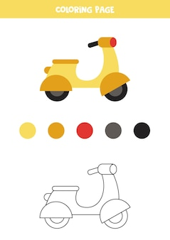 Scooter a motore simpatico cartone animato di colore. foglio di lavoro per bambini.