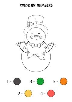 Colora il pupazzo di neve sveglio del fumetto dai numeri. foglio di lavoro per bambini.
