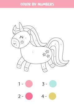Colore unicorno simpatico cartone animato dai numeri. gioco di matematica educativo per bambini. foglio di lavoro da colorare per bambini.