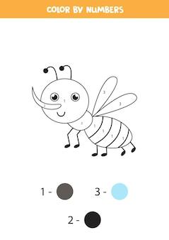 Colora simpatico insetto moscerino in base ai numeri. pagina da colorare educativa per bambini in età prescolare.