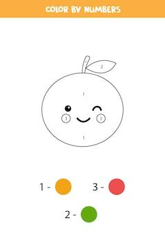 Colora la simpatica frutta arancione kawaii con i numeri.