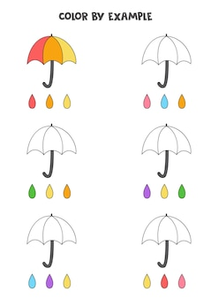 Ombrelli carini di colore. pagina da colorare educativa per bambini in età prescolare.