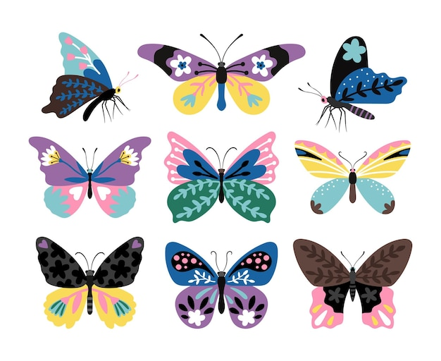 Set di farfalle da disegno a colori. farfalle e falene multicolori stilizzate, papillon colorati di fauna selvatica, creature di illustrazione vettoriale di fauna isolate su priorità bassa bianca