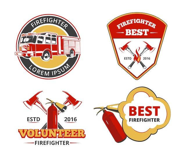 Insieme di vettore di emblemi, etichette e distintivi di pompiere di colore. volontariato e illustrazione di protezione, salvataggio e sicurezza