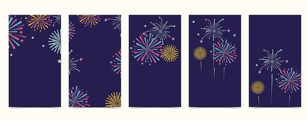 Sfondo di fuochi d'artificio a colori per social media, sito web