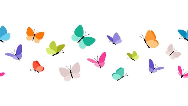 Modello senza cuciture di farfalle volanti di colore.