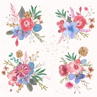 Collezione di acquerelli di colore pieno di fiori