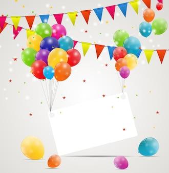 Illustrat di vettore del fondo della carta di compleanno dei palloncini lucidi di colore