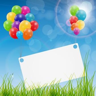 Illustrazione di vettore del fondo della carta di compleanno dei palloncini lucidi di colore