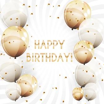 Palloncini lucidi di colore fondo di buon compleanno illustrazione vettoriale eps10