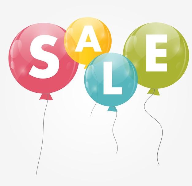 Colore lucido palloncini vendita concetto di sconto. illustrazione di vettore.