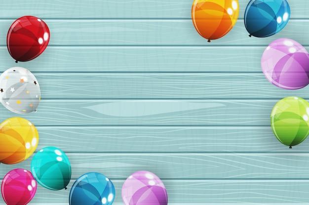 Illustrazione lucida del fondo dei palloni di buon compleanno di colore