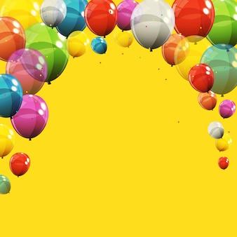 Illustrazione lucida dei palloni di buon compleanno di colore
