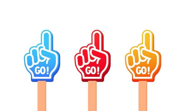 Icona dei guanti colorati o alza la mano con il testo