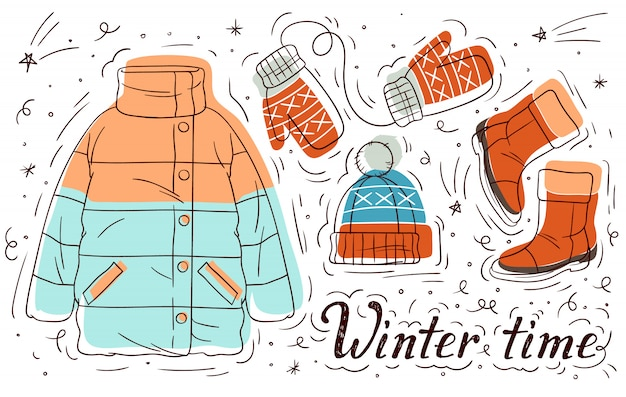 Illustrazione disegnata a mano di colore dei vestiti di inverno per le ragazze. insieme di elementi di stile doodle. vestiti caldi casual da donna.
