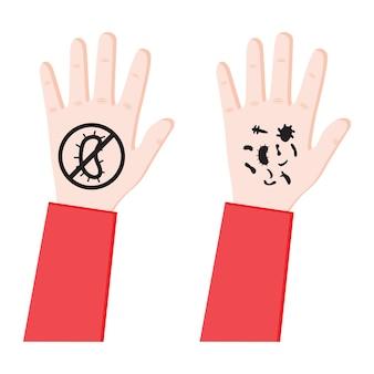 Mano colorata con batteri e virus infezione diffusa germi su una mano sporca concetto non batterico