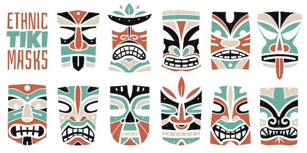 Stampe di maschere hawaiane a colori