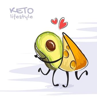 Illustrazione a colori dello stile di vita cheto. divertenti personaggi danzanti di avocado e formaggio. simpatici personaggi dei cartoni animati con emozioni d'amore. concetto di dieta cheto