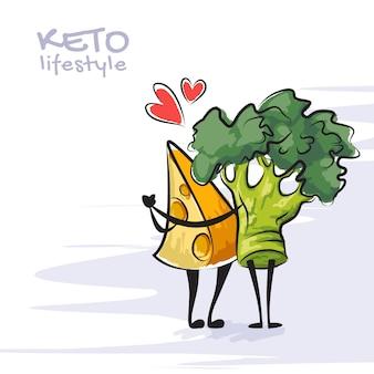 Illustrazione a colori dello stile di vita cheto. divertenti personaggi danzanti di formaggio e broccoli. simpatici personaggi dei cartoni animati con emozioni d'amore. concetto di dieta cheto