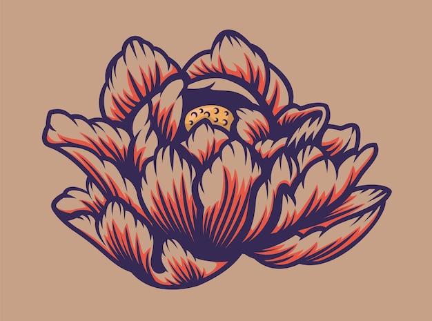 Illustrazione a colori di un fiore di loto su sfondo chiaro. vettore